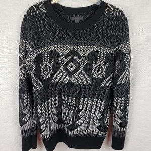 J.Crew Mixed-Stitch blanket Sweater black white S